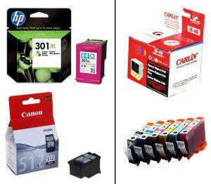 cartuchos de tinta de marca y de marca blanca